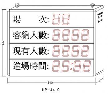 3NP-0001 NP-4410AX 容留人數看板 (場次/容納人數/現場人數/進場時間)